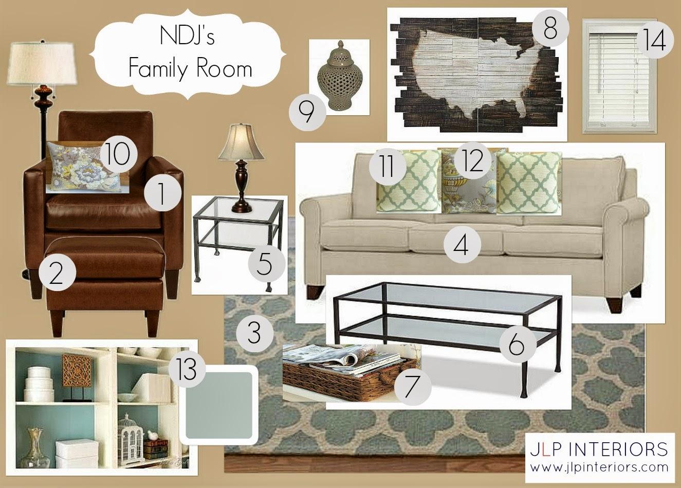 Home with baxter e design ndj 39 s family room design for Room design mood board