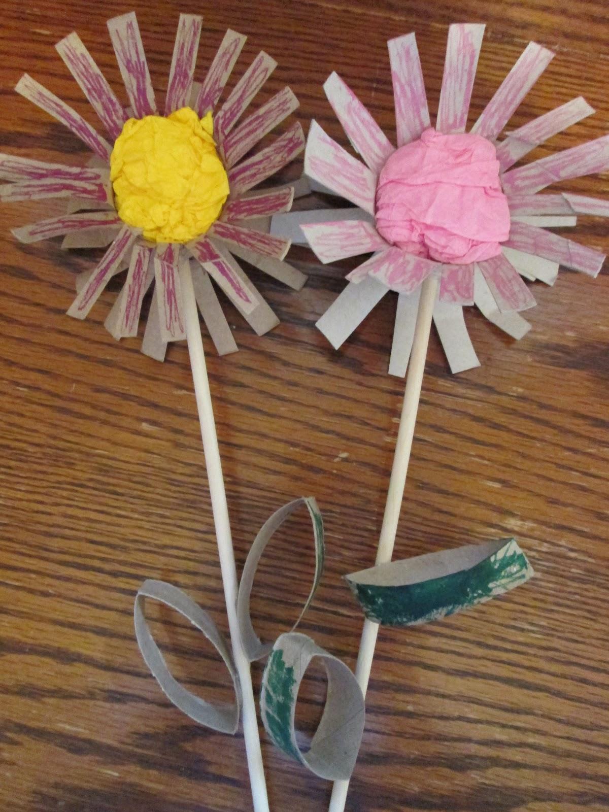 Walk in the sunshine cardboard tube flowers for Cardboard tube flowers