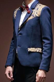 men's luxury navy blue fashion blazer with golden paisley design polyester