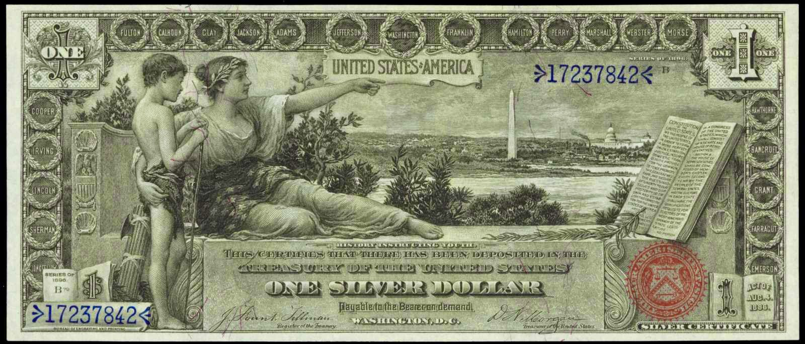 1896 One Dollar Silver Certificate from the Educational Series