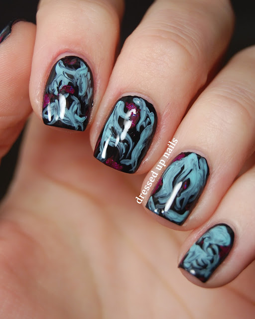 Dressed Up Nails - turquoise and black brush marble easy nail art