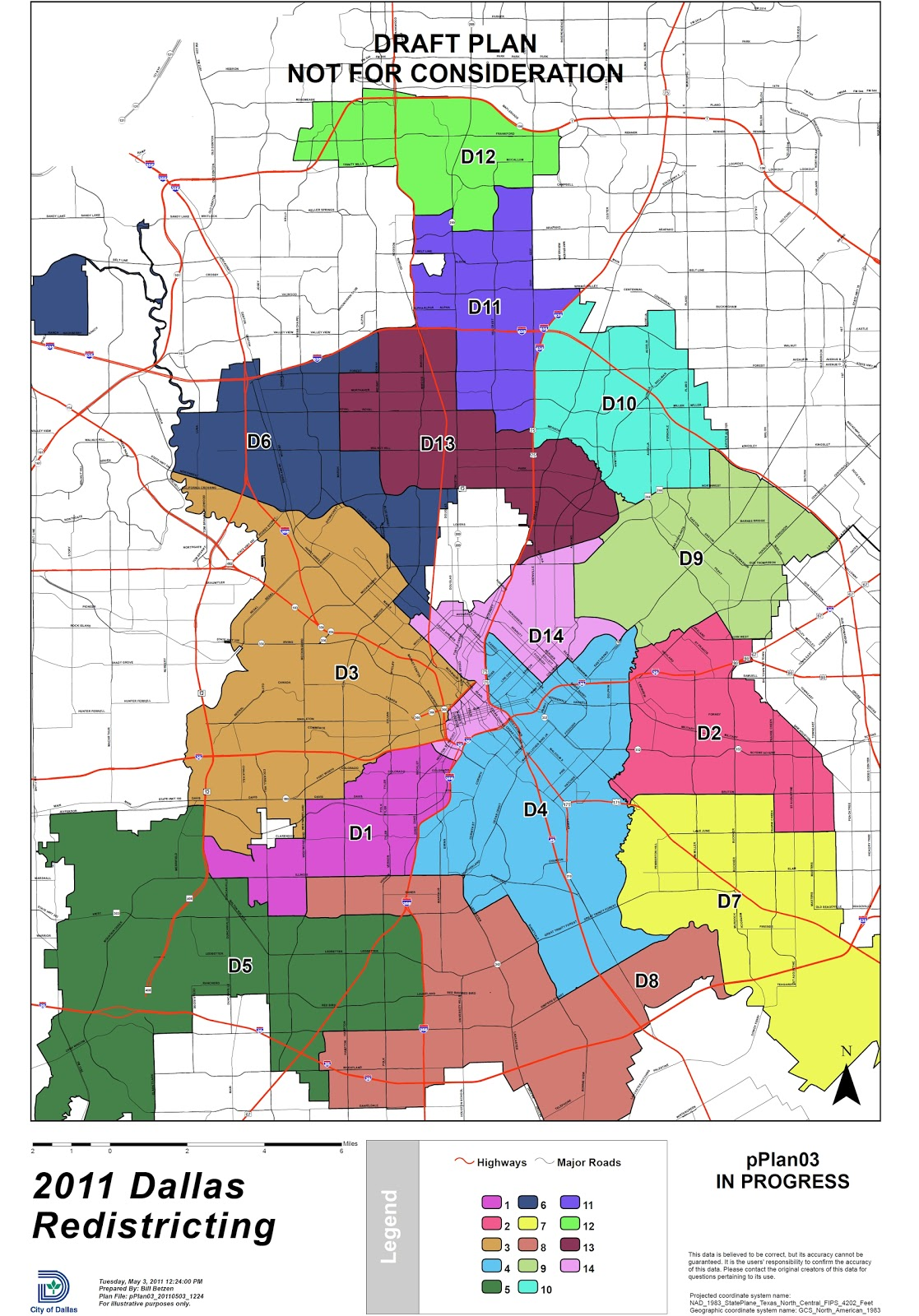 Dallas Redistricting 2011: Dallas City Council Redistricting Map, 5 on