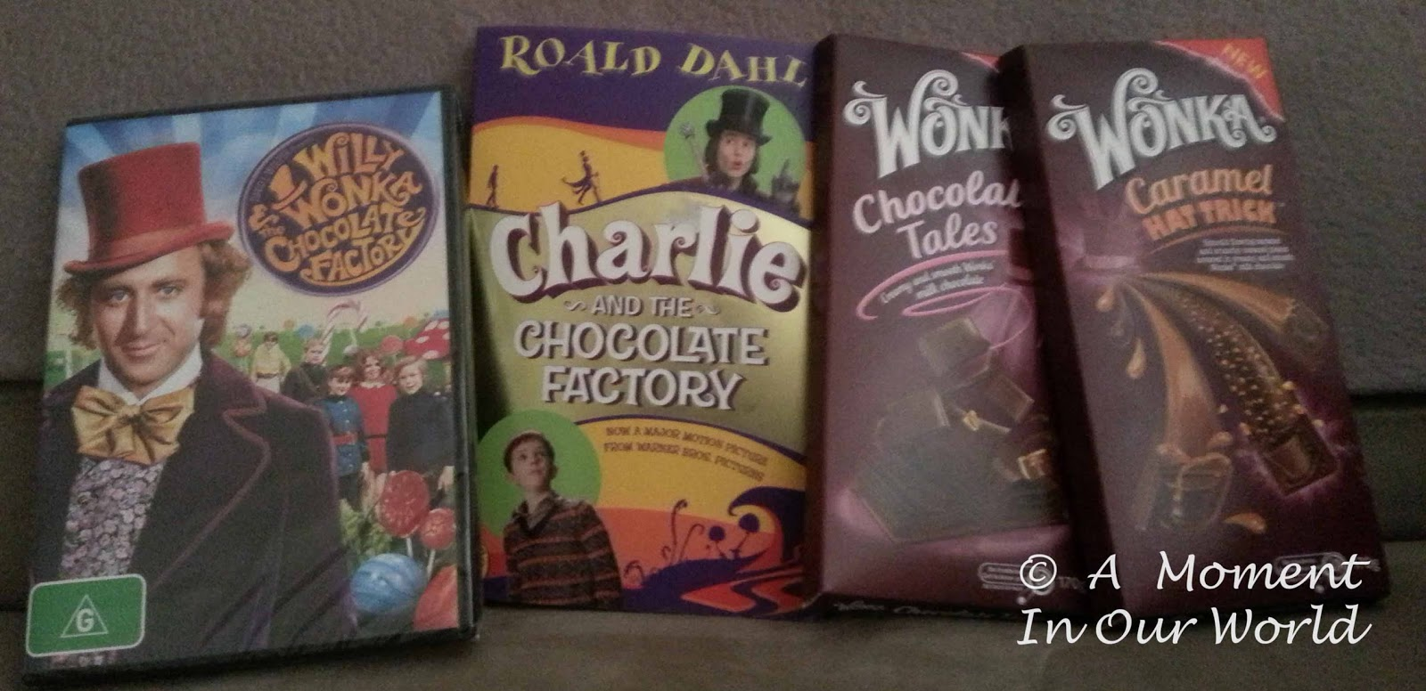 willy wonka charlie and the chocolate factory a moment in our world we watched the old version of the movie and ate some of the willy wonka chocolate that you can now at woolworths and coles