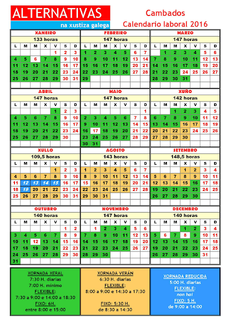 Cambados. Calendario laboral 2016