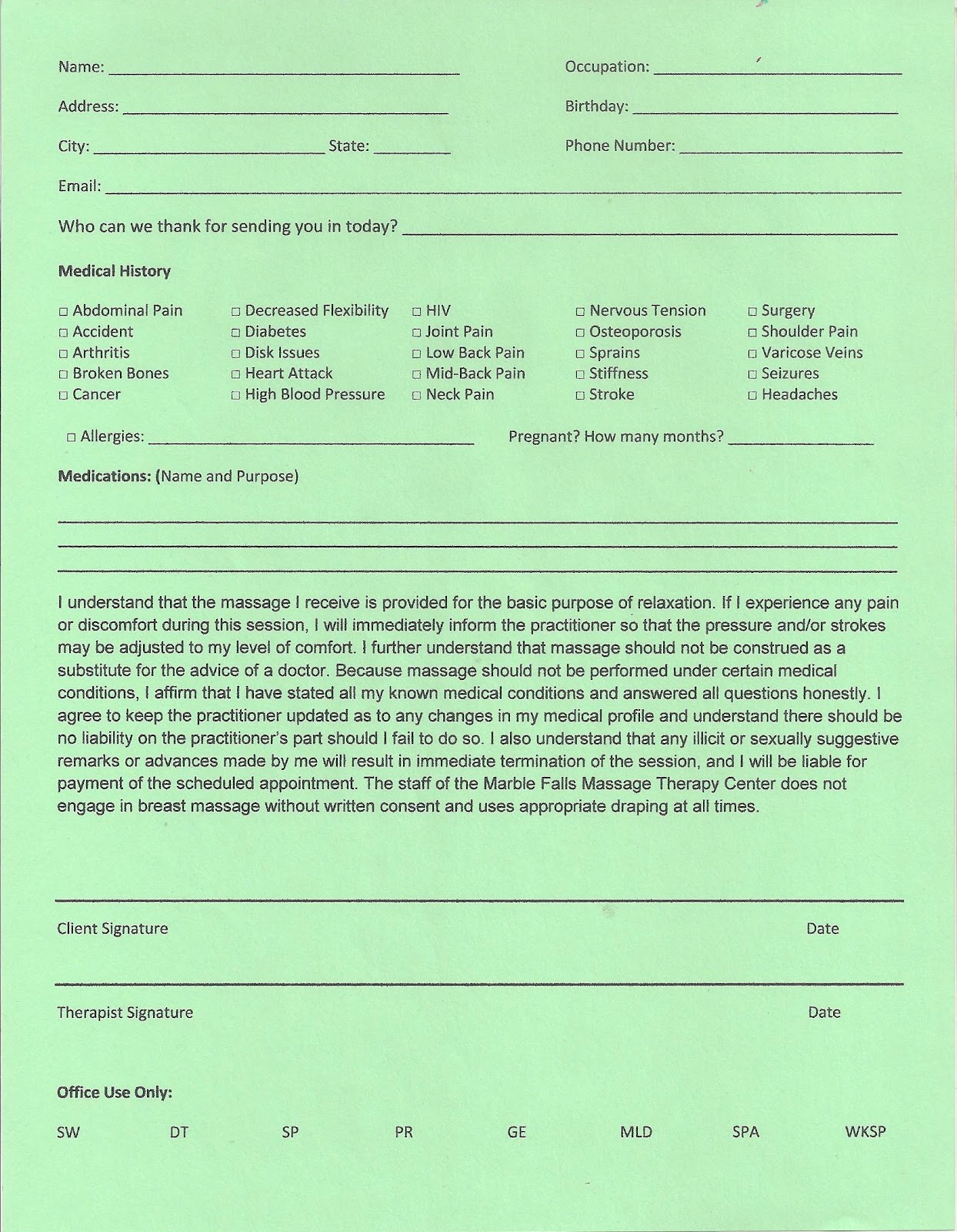 A Friend Who Kneads Spanish English Intake Forms – Massage Intake Form