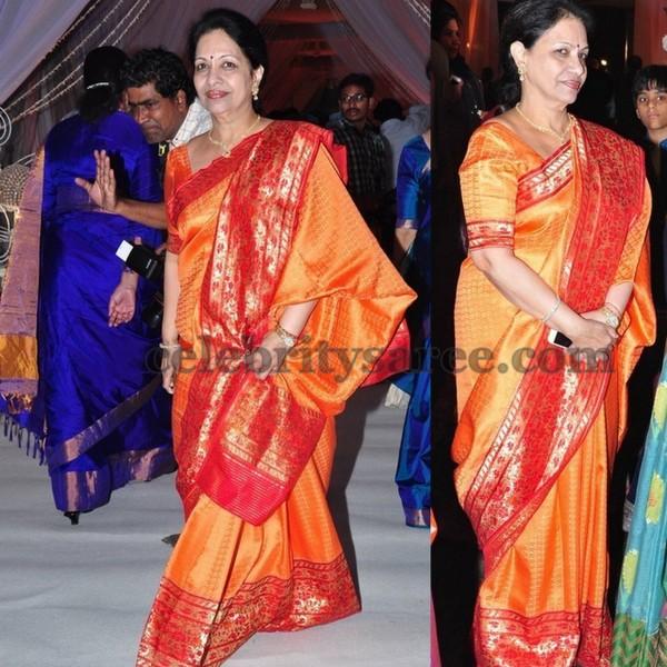 Indira Devi Orange Benaras Saree