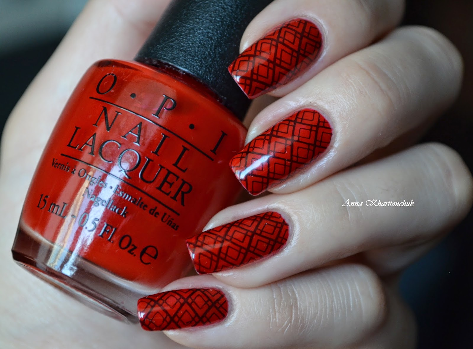 Winter11DNC: Красные ногти. Opi Red Hot Rio и стемпинг hehe 005