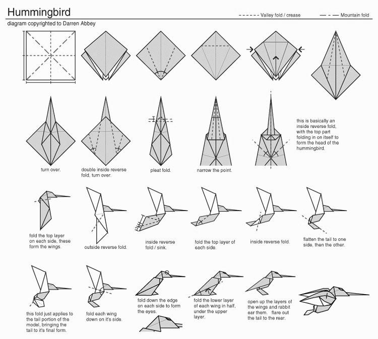 Origami Hummingbird Diagram Instructions