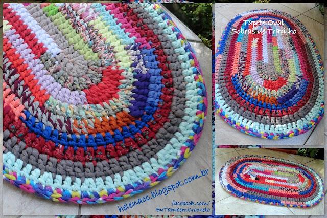 Вязание прямоугольных ковриков крючком для начинающих из тряпок 4346