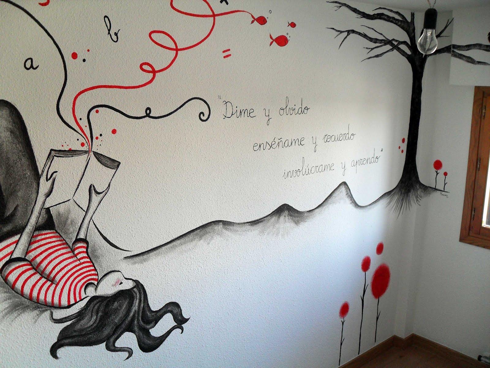 Pintura mural arte en pared y murales decorativos en - Decoracion en paredes de dormitorios ...