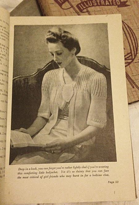 Knitted bedjacket, 1940s, Odhams
