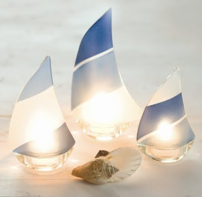 Cottage decor and more at beach grass completely coastal - Sailboat tealight holders ...