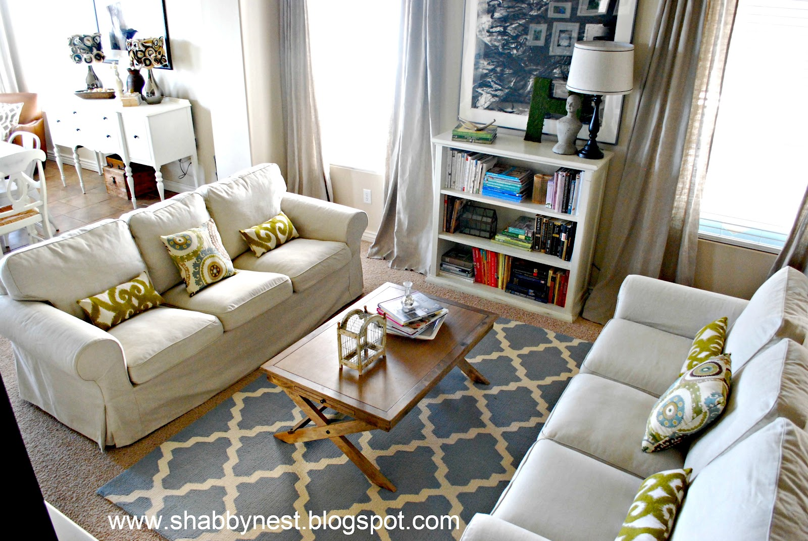 The shabby nest living room spruce up the reveal for Living room 2 sofas