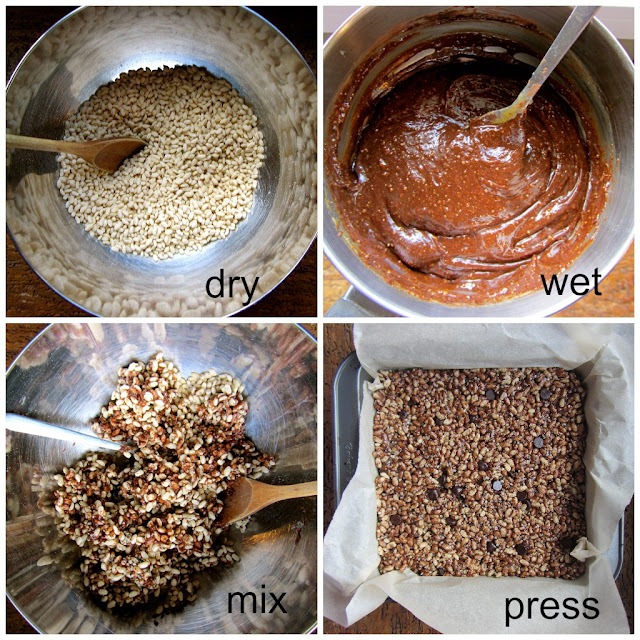 4 step instructions on creating coco-crisps. Stirring dry and wet ingredients in a large metal bowl. Pan lined with parchment paper with mixture pressed into it.