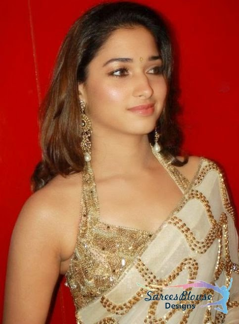 Tollywood Actress Tamanna in Golden Sleeveless Blouse full  Zari work n Matching Saree
