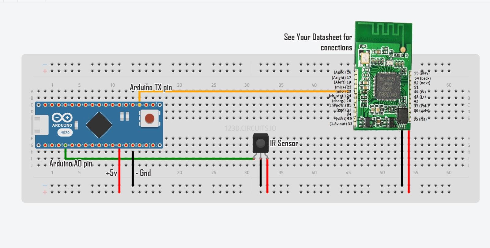Circuito Arduino : Sonido por bluetooth y arduino atomo technologies