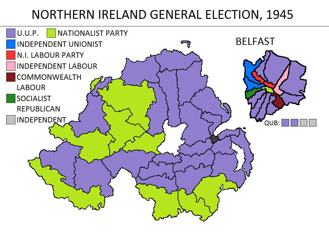 Irish Political Maps: Northern Ireland general election, 1945