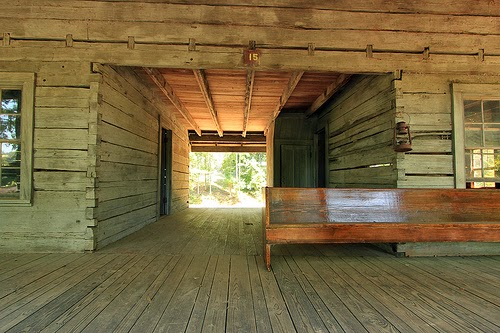 The log blog a good piece on the dog trot cabin for Dog trot house plans southern living