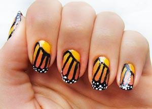 Как рисовать на ногтях бабочку