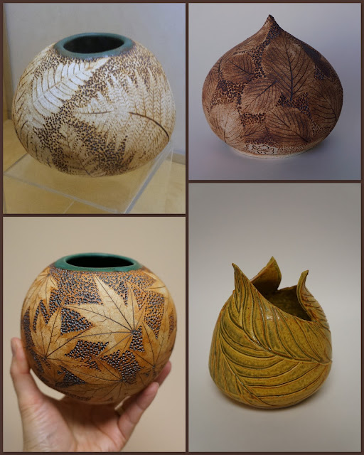Beautiful leaf imprinted ceramic / pottery vessels by Lily L.