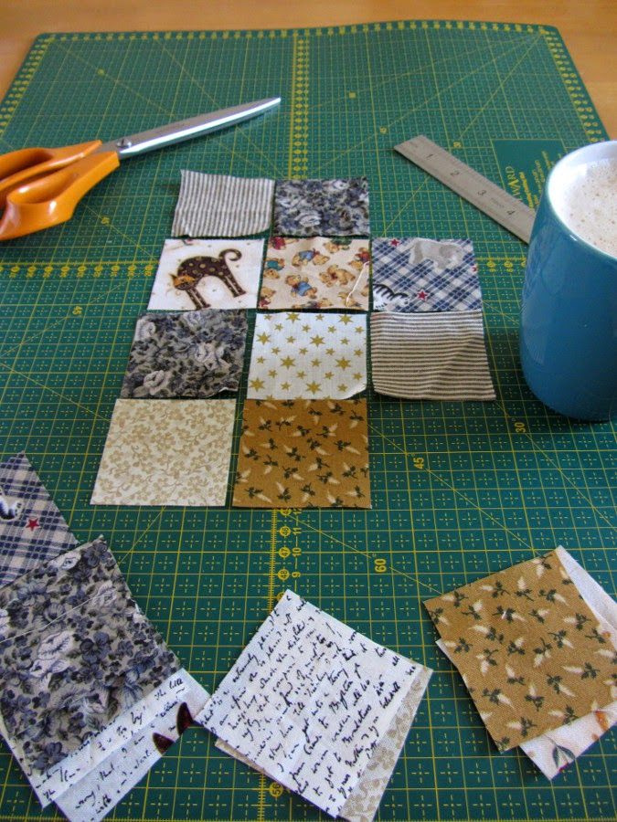 Assembling the patchwork squares