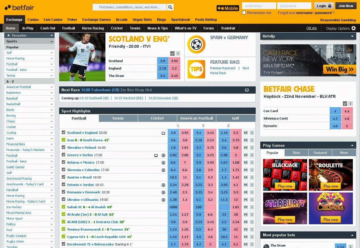 Betfair Exchange Screen