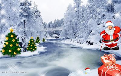 Wallpaper para Navidad con Santa Claus y regalos