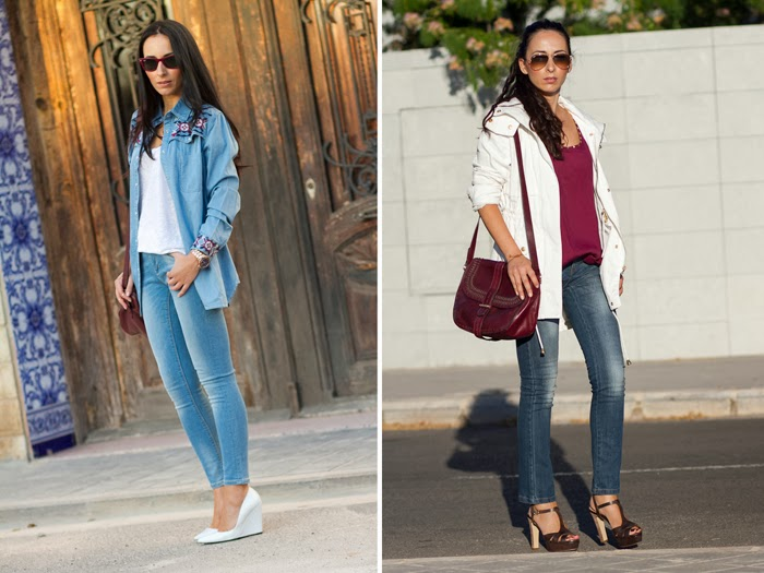 Resumen outfits Denim on Denim y Parka Blanca