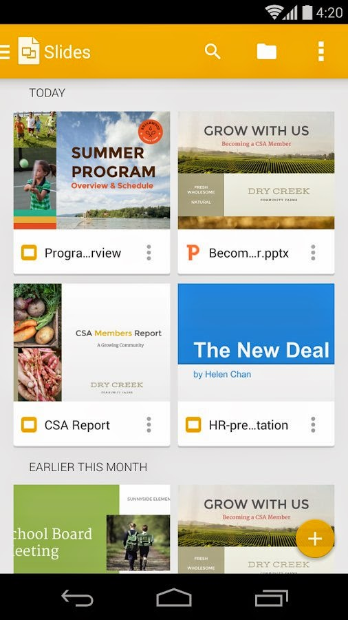 Google Slides for Android phones and tablets