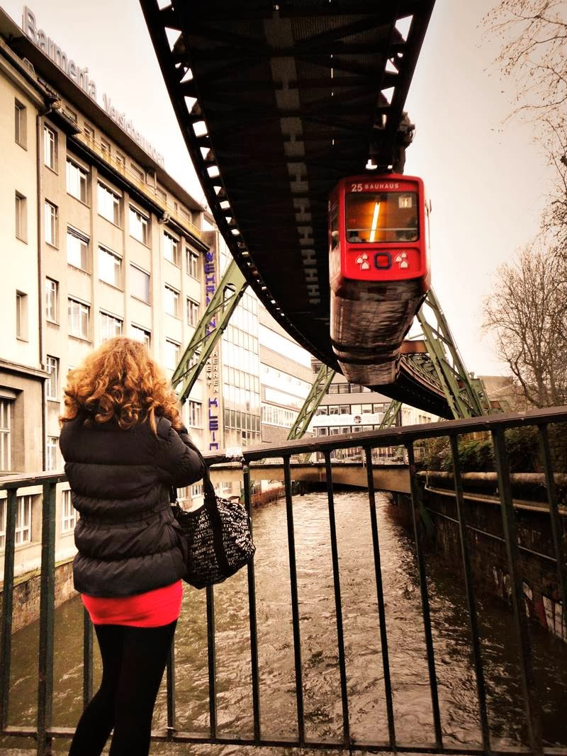 Schwebebahn Wuppertal Suspension Railway - 10 kilometers of railway pass over the Wupper river at a height of about 12 meters