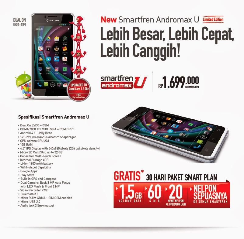 Spesifikasi Smartfren Andromax U dan Andromax U Limited Edition (LE)