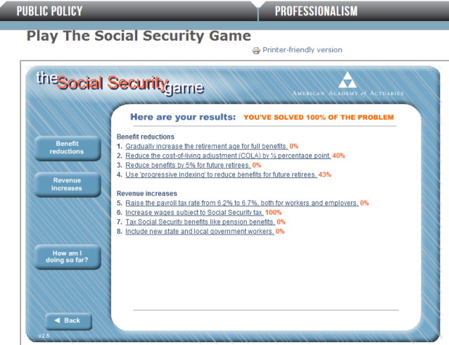 screenshot of the social security game