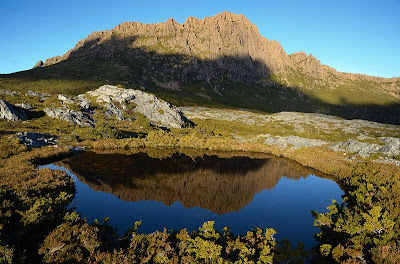 Setting sun on Cradle Mountain from the Little Plateau - 15th April 2011