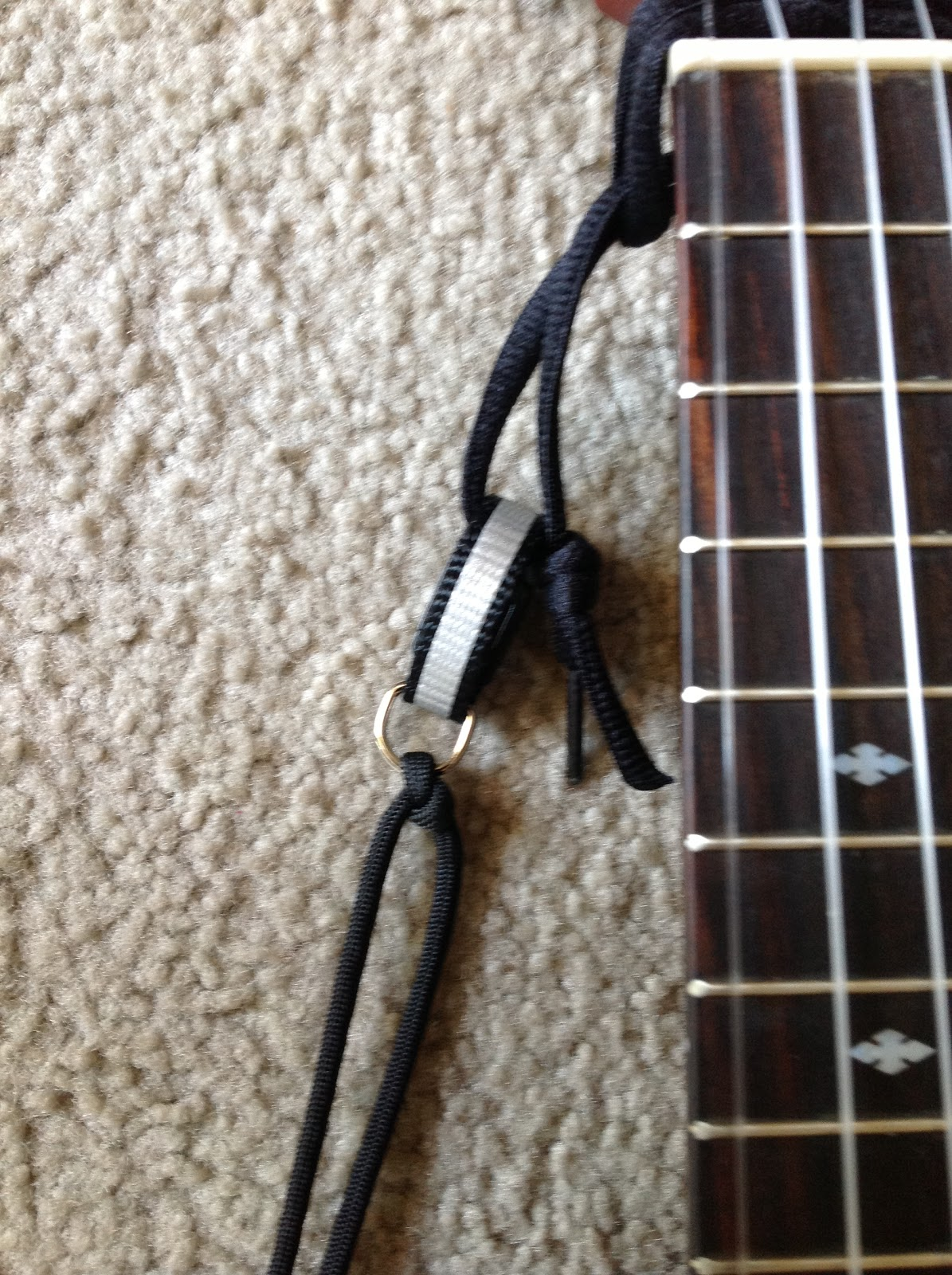 homemade ukelele strap close-up