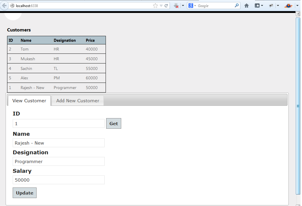 Updating data by using either a form or datasheet