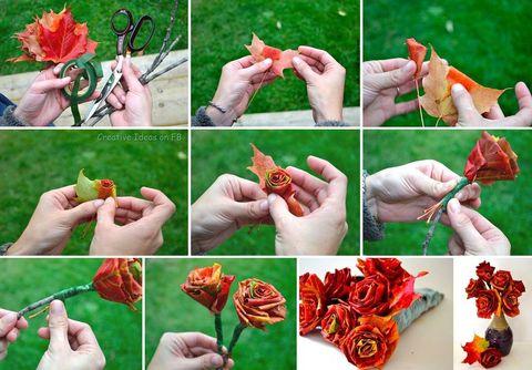 DIY Roses of autumn leaves