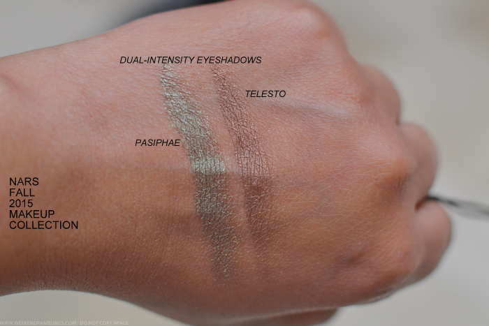 NARS Private Screening Fall 2015 Makeup Collection Dual Intensity Eyeshadows Telesto Pasiphae Swatches