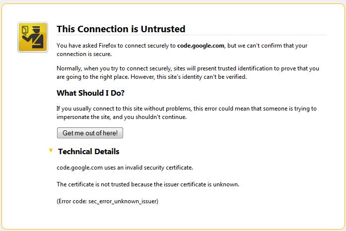 Firefox error code sec_error_unknown_issuer fix | Linux > Troskovas