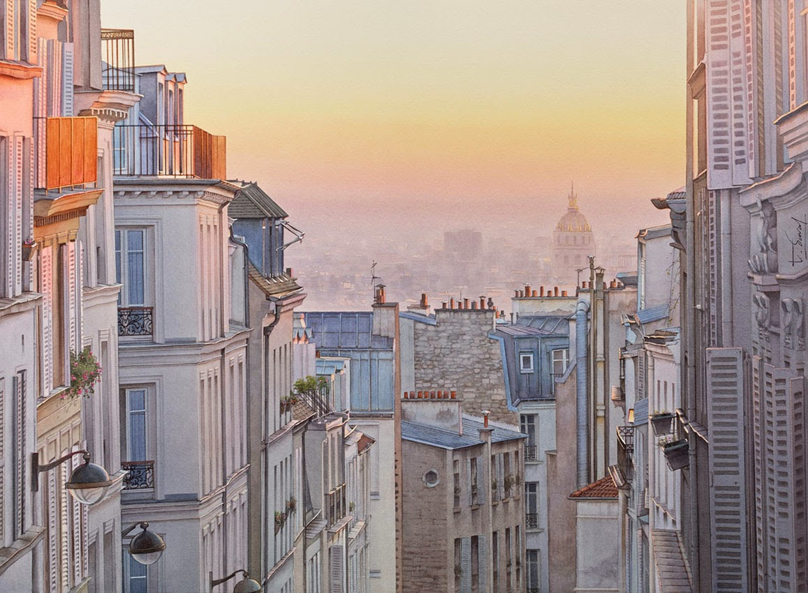 09-Montmartre-Thierry-Duval-Snippets-of Real-Life-in Watercolor-Paintings-www-designstack-co