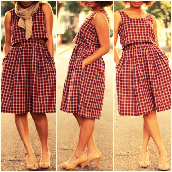 fashion sewing diystyle 2 piece plaid dress