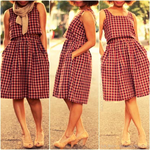 fashion sewing diystyle 2 piece plaid dress