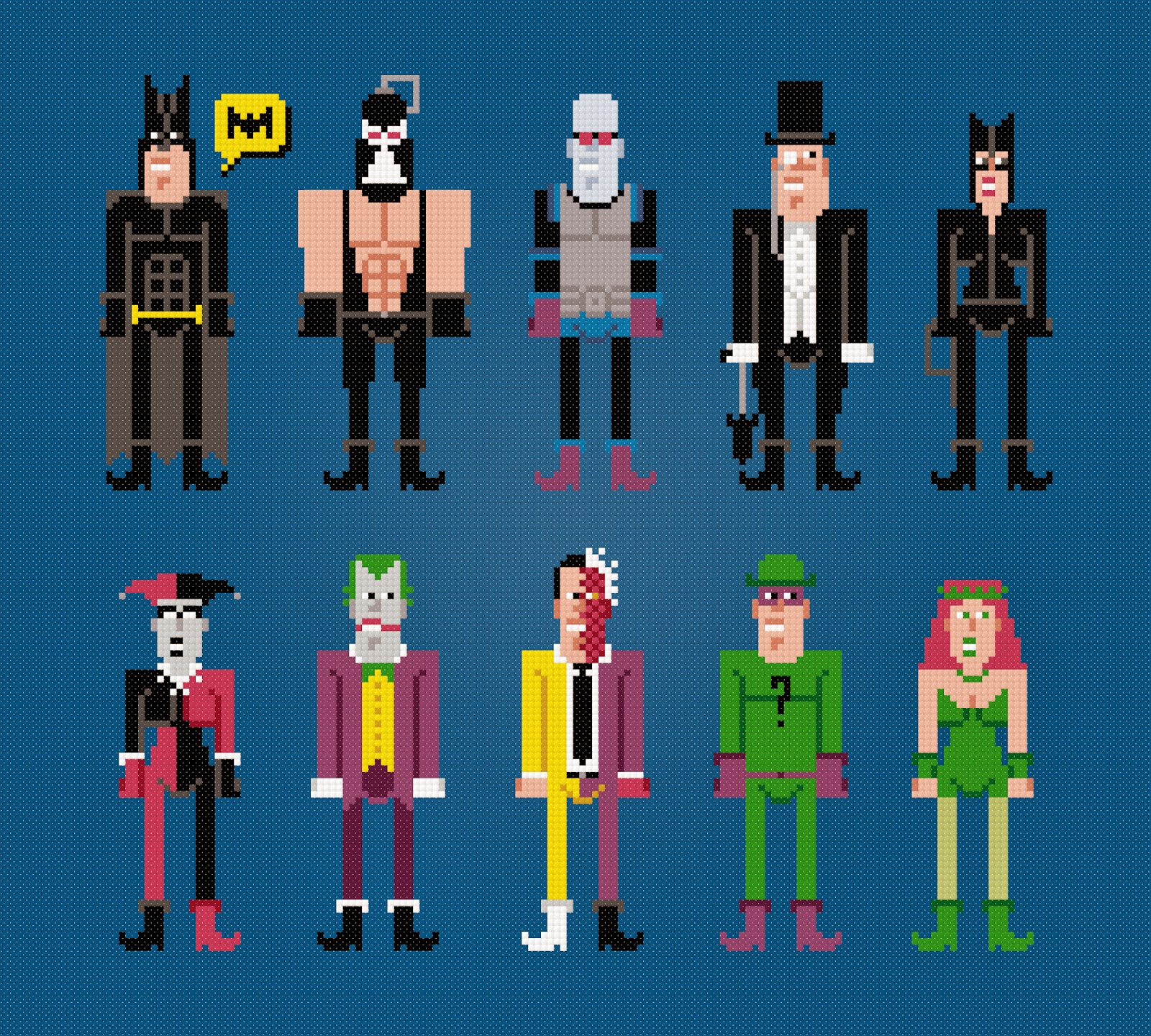 Batman and Villains - Cross Stitch PDF Pattern Download