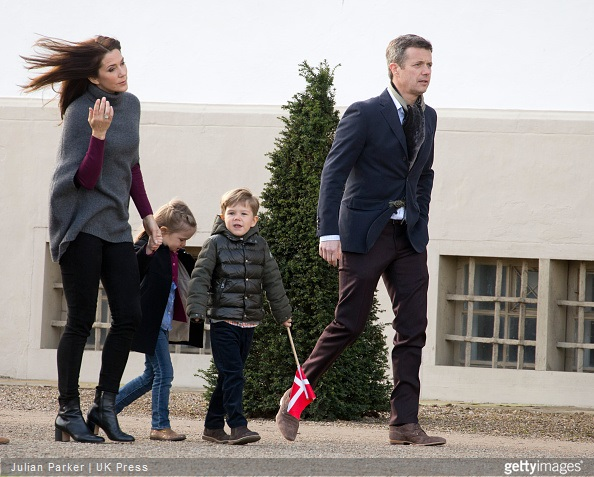 Crown Prince Frederik of Denmark, Crown Princess Mary of Denmark, with, Princess Josephine, and Prince Vincent, attend The traditional morning greeting at Fredensborg Palace, for Queen Margarethe II of Denmark on her 75th Birthday,