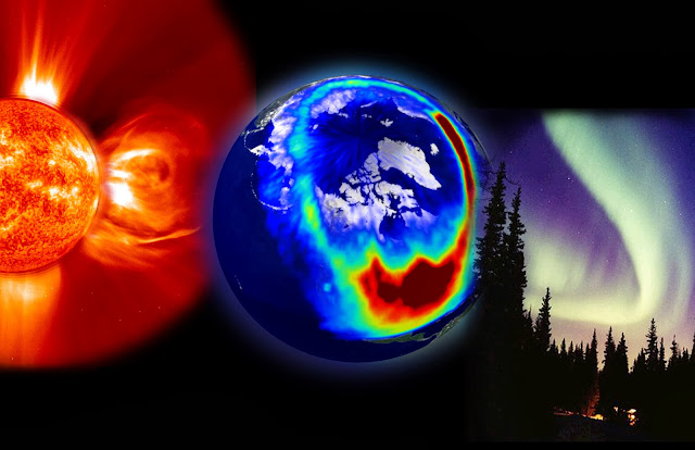 composite image of the sun, coronal mass ejection, the Earth's magnetic field and the northern lights