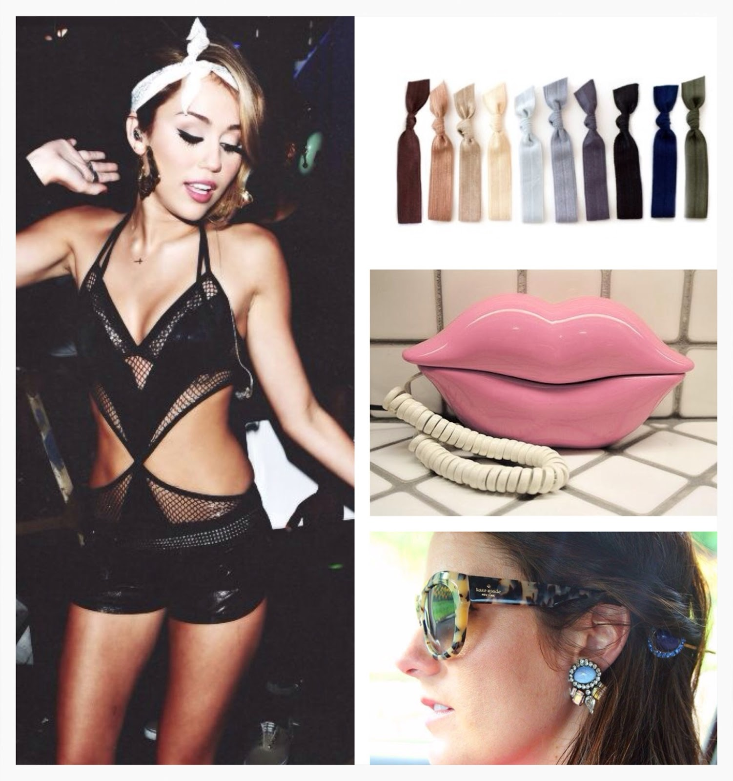 miley cyrus, lingerie, kitsch hair ties, pink lips telephone, kate spade tortoise shell thick frames, sunglasses