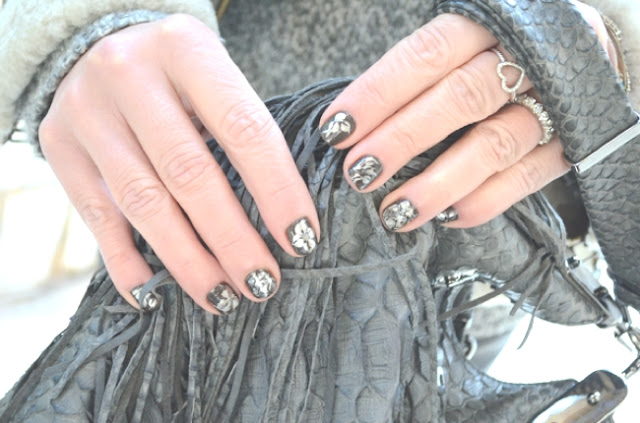 Grey Nail Art with White Flowers