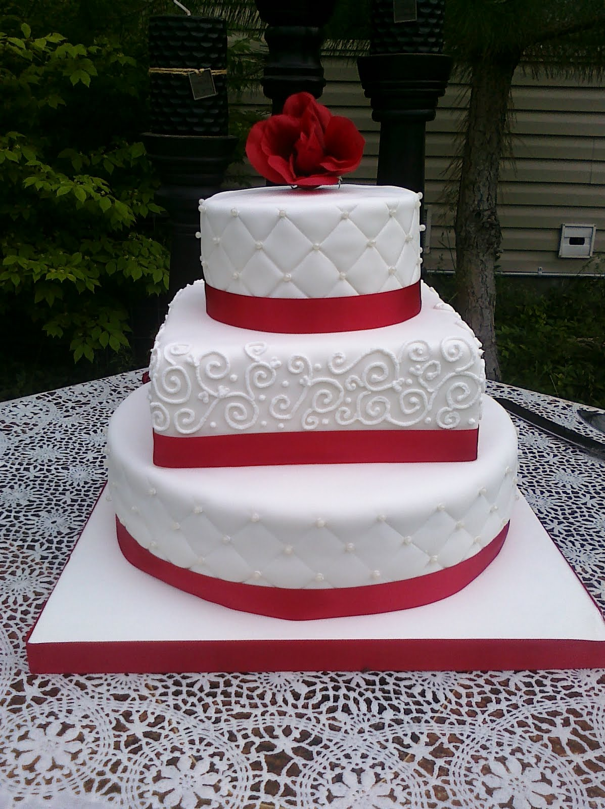 Cake by Dottie Red and White wedding