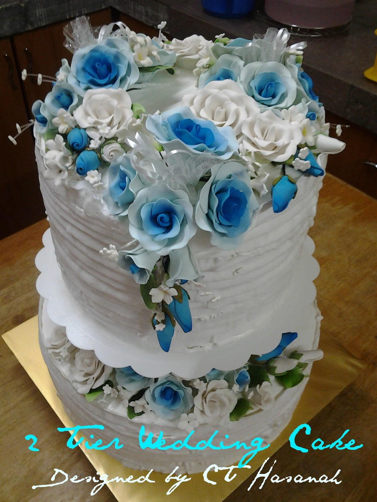 Ct Hasanah Cake House 2 Tier Blue White Wedding Cake