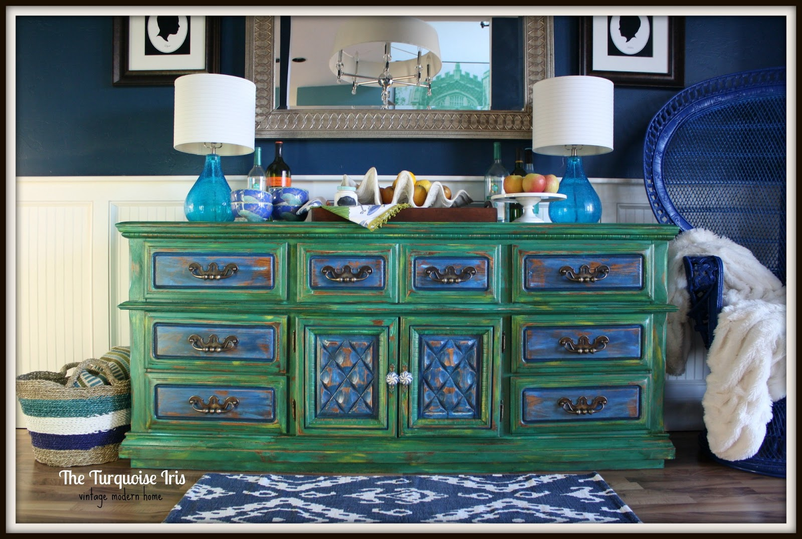 Emerald Green Buffet / Dresser Distressed U0026 A Shot Of Cobalt U0026 Feathers