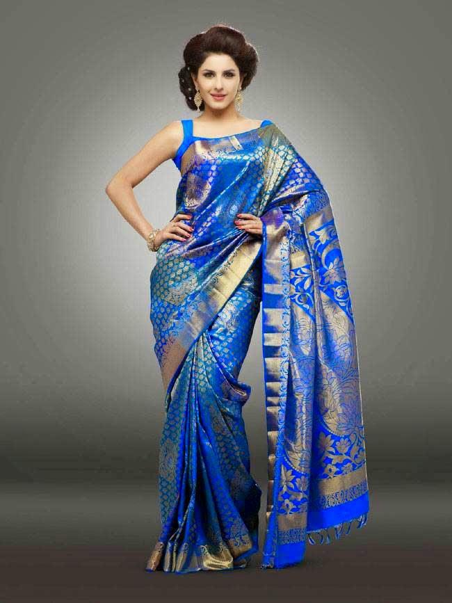 Isha Talwar In Blue Silk Saree